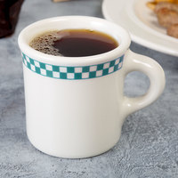 Homer Laughlin 3001789 Turquoise Checkers 8.75 oz. Ivory (American White) Mug - 36/Case