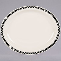 Homer Laughlin by Steelite International HL2591636 Black Checkers 9 3/4 inch x 8 inch Ivory (American White) Narrow Rim Oval Platter - 24/Case