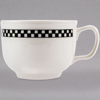 Homer Laughlin 1491636 Black Checkers 18 oz. Ivory (American White) Jumbo Cup - 12/Case