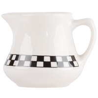 Homer Laughlin 1751636 Black Checkers 5.25 oz. Ivory (American White) Creamer - 24/Case