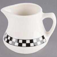 Homer Laughlin 1751636 Black Checkers 5.25 oz. Ivory (American White) Creamer - 24/Case