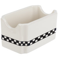 Homer Laughlin 271636 Black Checkers 4 7/8 inch Ivory (American White) Sugar Packet Holder - 36/Case