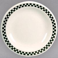 Homer Laughlin 2251636 Black Checkers 9 3/4 inch Ivory (American White) Narrow Rim Plate - 12/Case