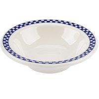 Homer Laughlin 1661790 Cobalt Checkers 4 oz. Ivory (American White) Narrow Rim Fruit Dish - 36/Case