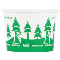 EcoChoice 16 oz. Compostable and Biodegradable Paper Soup / Hot Food Cup with Tree Design - 500/Case