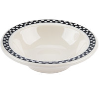 Homer Laughlin 1661636 Black Checkers 4 oz. Ivory (American White) Narrow Rim Fruit Dish - 36/Case