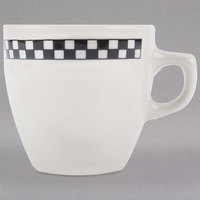 Homer Laughlin 10521636 Black Checkers 10 oz. Ivory (American White) Bistro Cup - 36/Case