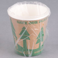Lavex Lodging 10 oz. Kraft Biodegradable and Compostable Individually Wrapped Paper Hot Cup - 480/Case