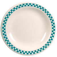 Homer Laughlin 2161789 Turquoise Checkers 9 3/8 inch Ivory (American White) Narrow Rim Plate - 24/Case