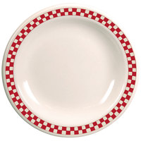 Homer Laughlin 2115413 Scarlet Checkers 5 1/2 inch Ivory (American White) Narrow Rim Plate - 36/Case