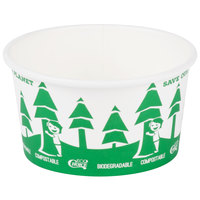 EcoChoice 12 oz. Compostable and Biodegradable Paper Soup / Hot Food Cup with Tree Design - 500/Case
