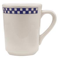 Homer Laughlin 1301790 Cobalt Checkers 8.25 oz. Ivory (American White) Denver Mug - 36/Case