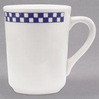 Homer Laughlin 1301790 Cobalt Checkers 8.25 oz. Ivory (American White) Denver Mug - 36/Case