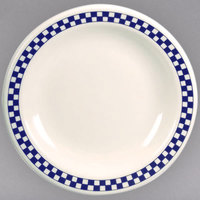 Homer Laughlin 2251790 Cobalt Checkers 9 3/4 inch Ivory (American White) Narrow Rim Plate - 12/Case
