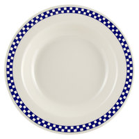 Homer Laughlin 2531790 Cobalt Checkers 12.75 oz. Ivory (American White) Rimmed Rolled Edge Soup Bowl - 24/Case