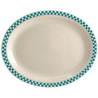 Homer Laughlin 1571789 Turquoise Checkers 13 3/8 inch x 9 inch Ivory (American White) Rolled Edge Oval Platter - 12/Case