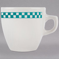 Homer Laughlin 10521789 Turquoise Checkers 10 oz. Ivory (American White) Bistro Cup - 36/Case
