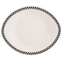 Homer Laughlin 2201636 Black Checkers 11 1/4 inch x 9 3/8 inch Ivory (American White) Hancock Specialty Platter - 12/Case