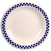 Homer Laughlin 2121790 Cobalt Checkers 6 1/2 inch Ivory (American White) Narrow Rim Plate - 36/Case