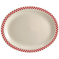 Homer Laughlin 1575413 Scarlet Checkers 13 3/8 inch x 9 inch Ivory (American White) Rolled Edge Oval Platter - 12/Case