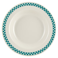 Homer Laughlin 2531789 Turquoise Checkers 12.75 oz. Ivory (American White) Rimmed Rolled Edge Soup Bowl - 24/Case
