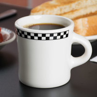 Homer Laughlin 9821636 Black Checkers 13 oz. Ivory (American White) Jumbo 300 Mug - 12/Case