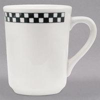 Homer Laughlin 1301636 Black Checkers 8.25 oz. Ivory (American White) Denver Mug - 36/Case