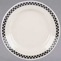 Homer Laughlin by Steelite International HL2041636 Black Checkers 8 1/4 inch Ivory (American White) Rolled Edge Plate - 36/Case