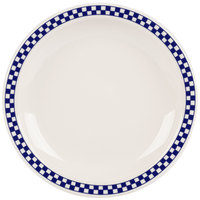 Homer Laughlin 2141790 Cobalt Checkers 8 1/4 inch Ivory (American White) Narrow Rim Plate - 36/Case