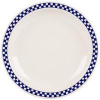 Homer Laughlin 2141790 Cobalt Checkers 8 1/4 inch Ivory (American White) Narrow Rim Plate - 36/Case