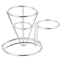 GET 4-880164 3 3/4 inch x 5 inch Round Stainless Steel Wire Cone Basket with Ramekin Holder