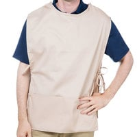 Choice 29 inch x 20 inch Khaki / Beige Poly-Cotton Cobbler Apron with Two Pockets
