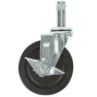 Regency 5 inch Rubber Shelving Swivel Stem Caster with Brake