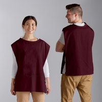 Choice 29 inch x 20 inch Burgundy Poly-Cotton Cobbler Apron with Two Pockets