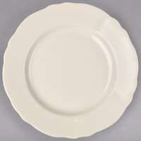 Homer Laughlin 54800 Carolyn 10 5/8 inch Ivory (American White) Scalloped Edge Plate - 12/Case