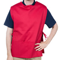 Choice 29 inch x 20 inch Red Poly-Cotton Cobbler Apron with Two Pockets