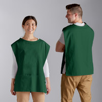 Choice 29 inch x 20 inch Green Poly-Cotton Cobbler Apron with Two Pockets