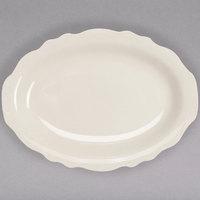 Homer Laughlin by Steelite International HL52700 Carolyn 12 5/8 inch x 9 3/4 inch Ivory (American White) Scalloped Edge Oval Platter - 12/Case