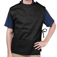 Choice 29 inch x 20 inch Black Poly-Cotton Cobbler Apron with Two Pockets