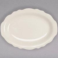 Homer Laughlin by Steelite International HL52300 Carolyn 7 3/4 inch x 5 3/4 inch Ivory (American White) Scalloped Edge Oval Platter - 36/Case