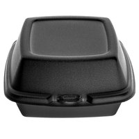 Dart 60HTB1 6 inch x 6 inch x 3 inch Black Foam Hinged Lid Container - 125/Pack