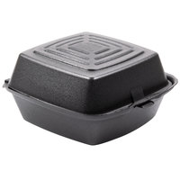 Dart Solo 60HTB1 6 inch x 6 inch x 3 inch Black Foam Hinged Lid Container 125 / Pack