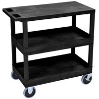 Luxor EC211HD-B Black 2 Tub and 1 Flat Shelf Utility Cart - 32 inch x 18 inch