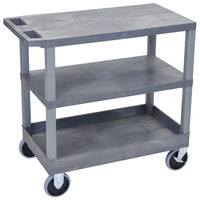 Luxor EC221HD-G Gray 1 Tub and 2 Flat Shelf Utility Cart - 32 inch x 18 inch