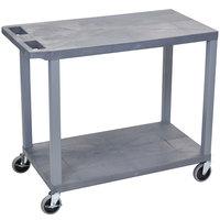 Luxor EC22-G Gray 2 Flat Shelf Utility Cart - 32 inch x 18 inch