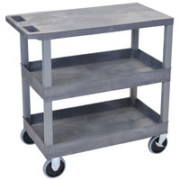 Luxor EC211HD-G Gray 2 Tub and 1 Flat Shelf Utility Cart - 32 inch x 18 inch