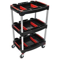 Luxor MC-3 Black 3 Shelf Mechanics Cart - 23 inch x 18 inch
