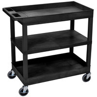 Luxor EC121-B Black 2 Tub and 1 Flat Shelf Utility Cart - 32 inch x 18 inch