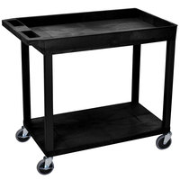 Luxor EC12-B Black 1 Tub and 1 Flat Shelf Utility Cart - 32 inch x 18 inch