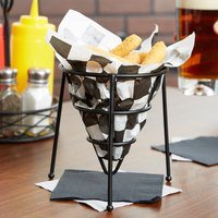 Clipper Mill by GET 4-33888 5 inch Black Wrought Iron Stackable Cone Basket with Teflon® Coating